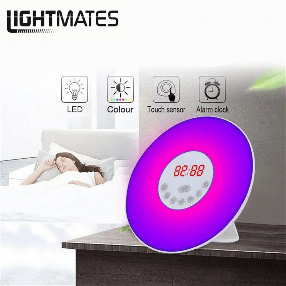 2018NEWTouch Sensing Digital Alarm Clock Sunrise Sunset LED Wake Up Lights With FM Radio Colorful Light Snooze Mode Nature Sound