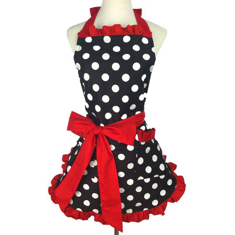 Hot Lovely Sweetheart Retro Kitchen Aprons for Woman Girl Cotton Polka Dot Cooking Salon Pinafore Vintage Apron Dress Christmas