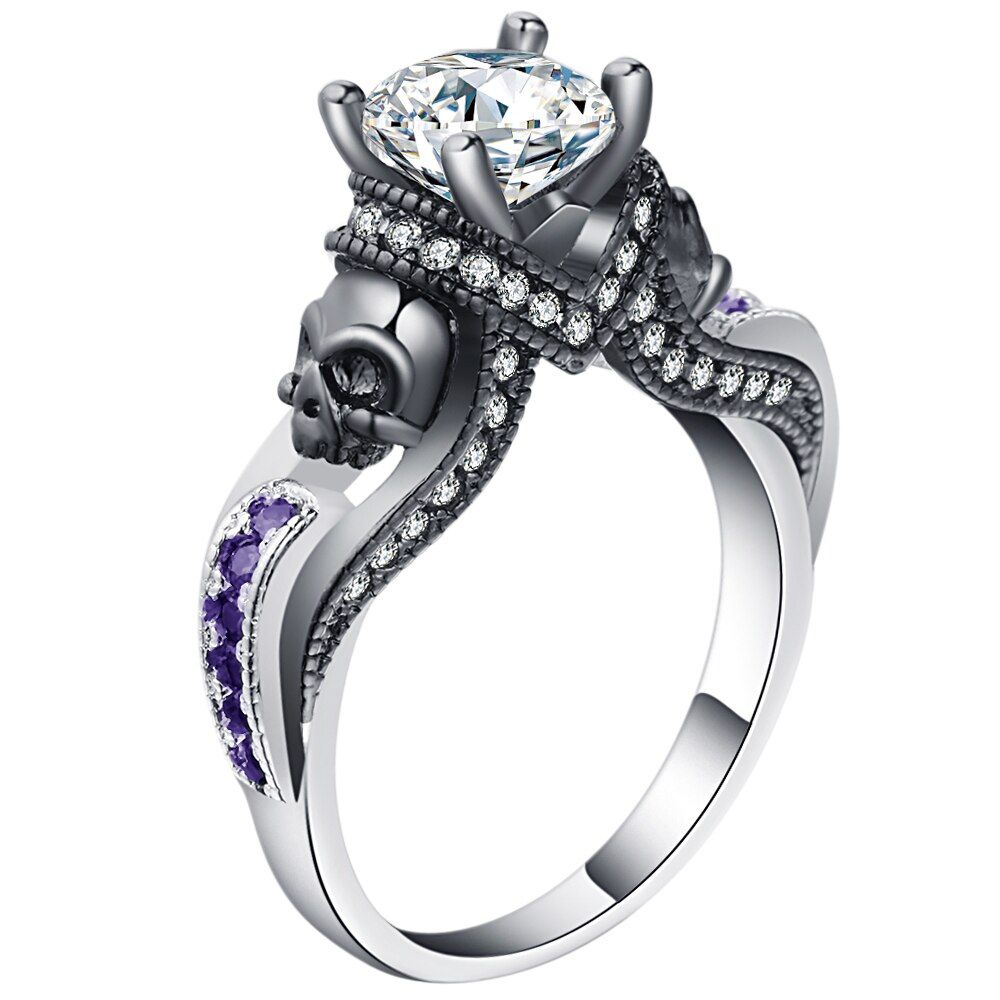 2019 Women's Skull Ring Pink Red Black Purple Blue Green CZ Stone Punk style Men Party Ring Birthstone skull men's jewelry Rings
