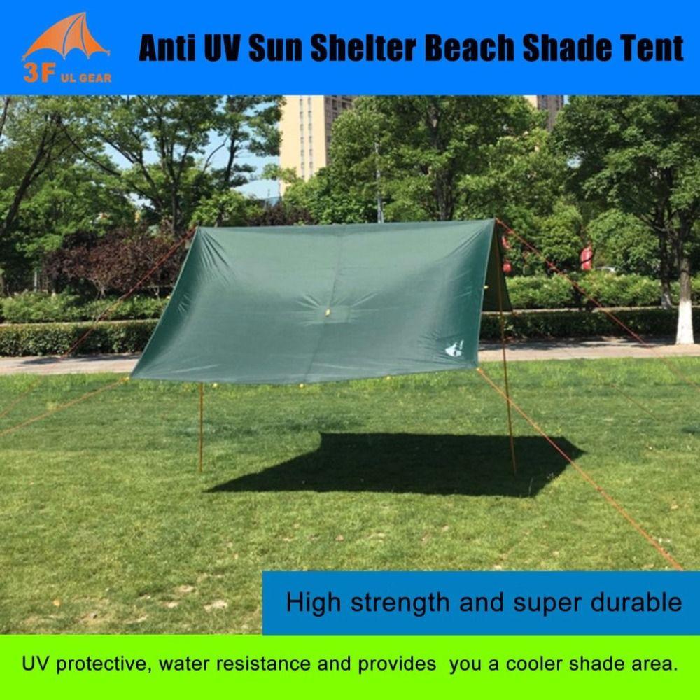 Anti UV Ultralight Sun Shelter Beach Shade Tent Outdoor Awning Canopy Waterproof 210T Taffeta Tarp Camping Sunshelter From Ru CN