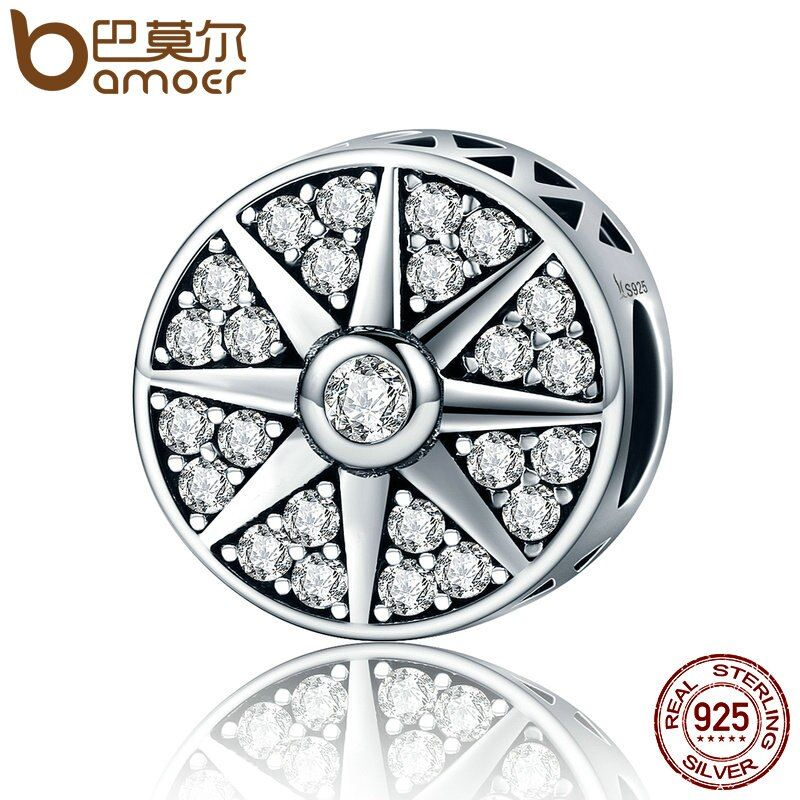 BAMOER High Quality 925 Sterling Silver Sun Freeze Element Sparkling CZ Beads fit Charm Bracelets for Women DIY Jewelry SCC212