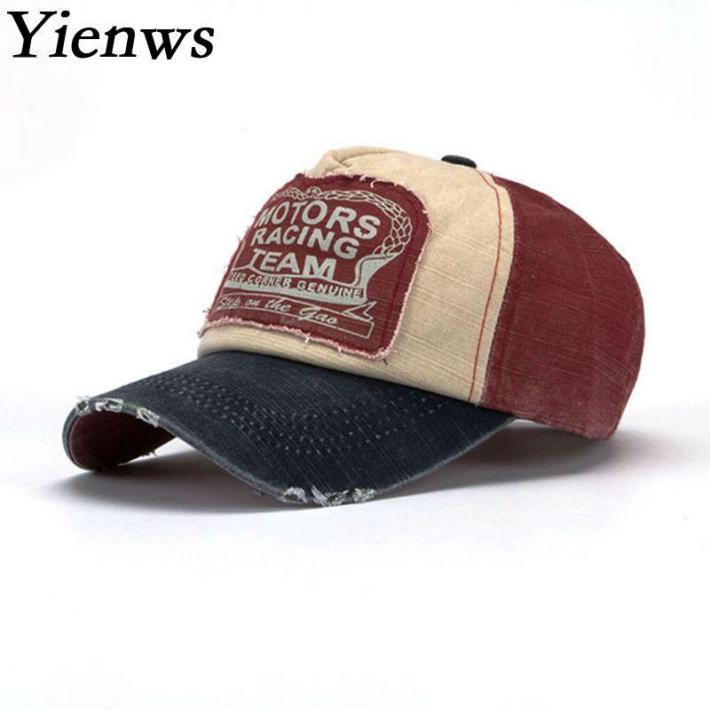 Yienws Vintage Jeans courbe bord Casquette de camionneur pour hommes os Masculino Casquette de Baseball mâle réglable papa chapeaux Casquette Homme YIC070