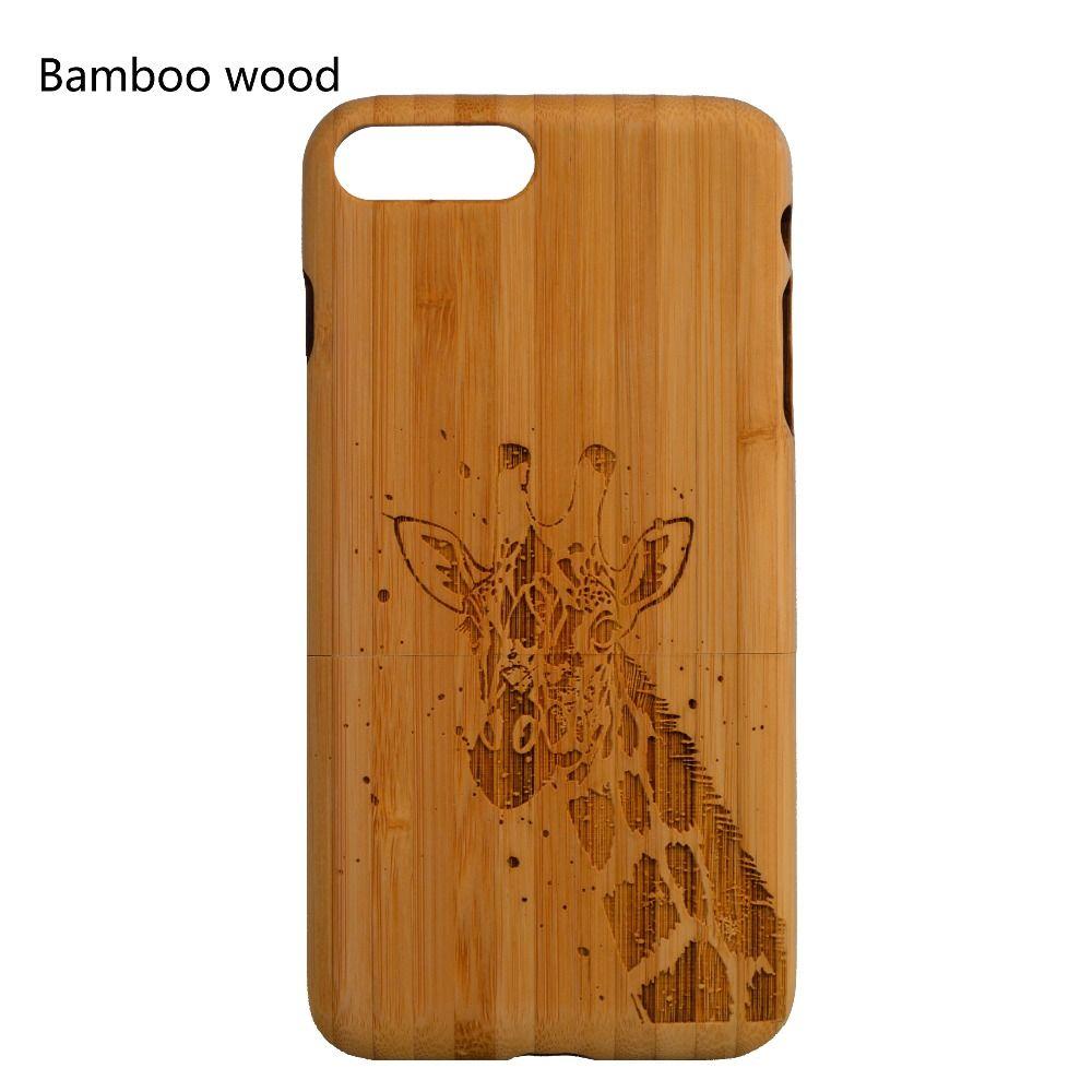 100% étui de bambou en bois massif pour iphone 6 6s 6plus 7 8plus XR personnaliser le nom et la conception de motif pour Samsung S 7 edge S 8 9