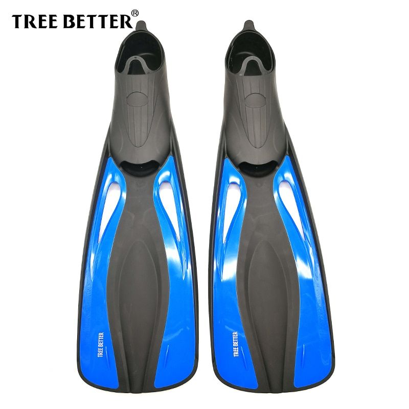 TREE BETTER Swimming fins for adults Snorkeling Diving Fins long full foot flippers Submersible shoe Professional Blue 36 to 48