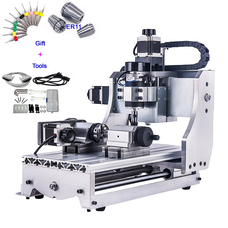 4 Axis CNC Router 3020 T-D300 Mini CNC Milling Machine with White Control Box Engrave Machine