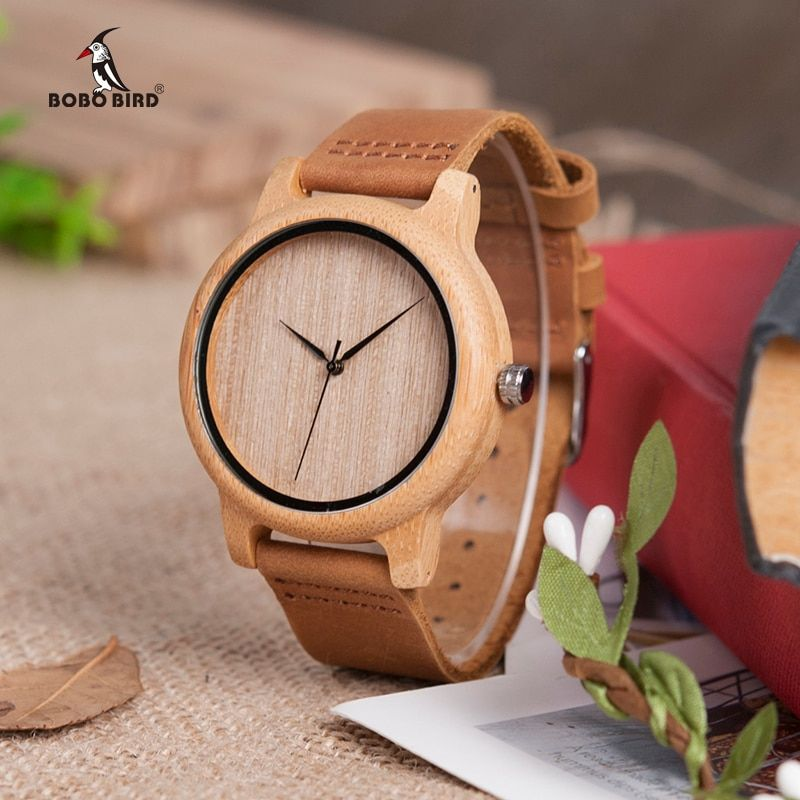 relogio masculino BOBO BIRD Timepieces Men Watch Bamboo Wooden Watches for Men and Women With Soft Leather Strap C-A19