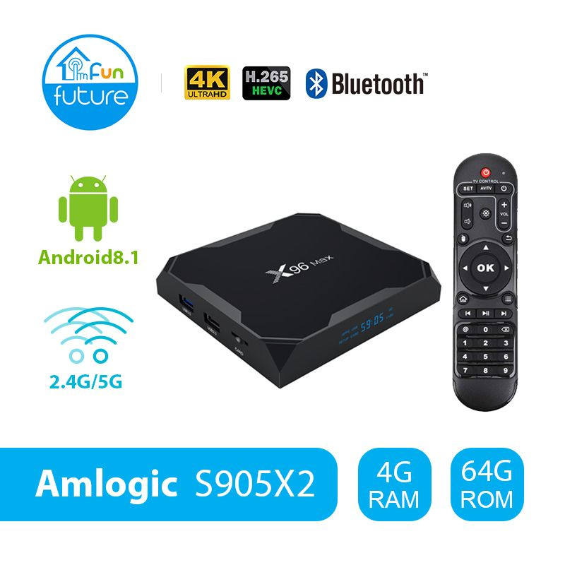 X96 Max Android 8.1 Amlogic S905X2 LPDDR4GB 64GB Quad Core TV BOX 2.4G 5G Wifi BT 1000M H.265 4K60fps Smart TV box X96Max