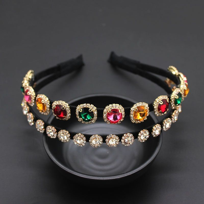 Baroque rhinestone double headband Korean version of the trend headband two layers full of geek temperament headband 914