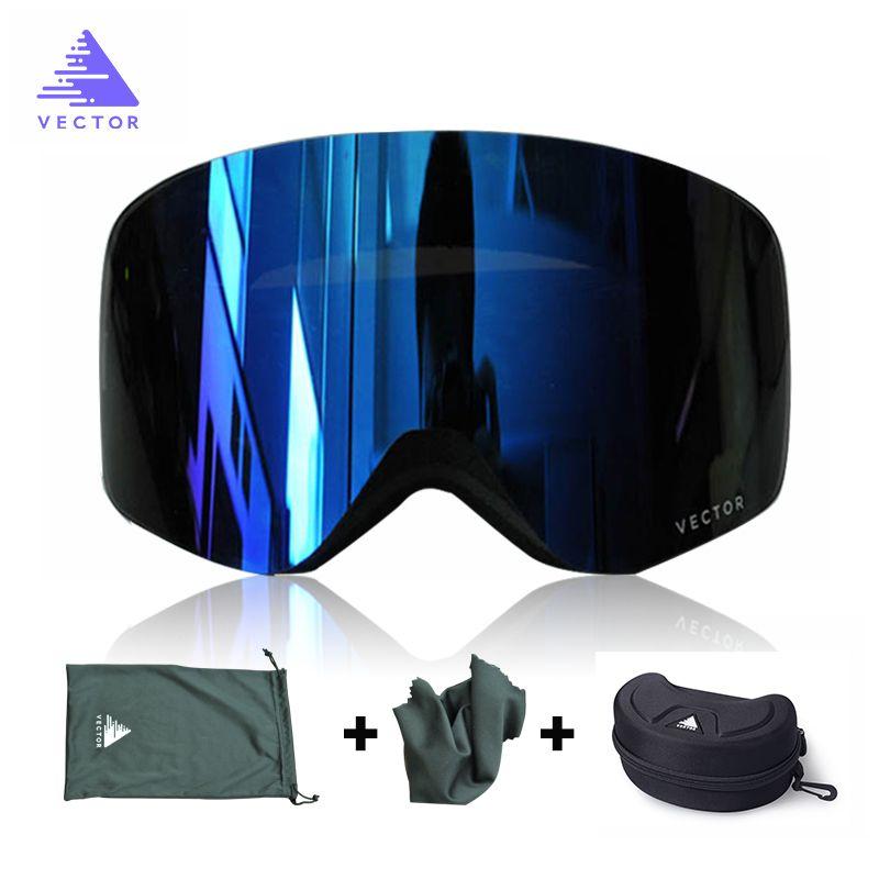 VECTEUR Marque Ski Lunettes Hommes Femmes Double Lentille UV400 Anti-brouillard Ski Lunettes de Neige Lunettes Adulte Ski Snowboard Lunettes