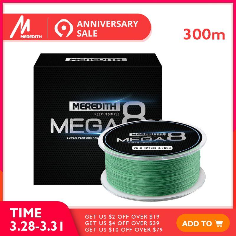 Meredith Mega8 fil de pêche 300 M 8 Brin Tisse fil de pêche tressée pe Corde Multifilament 10LB 15LB 20LB 25LB 30LB 40LB 50LB
