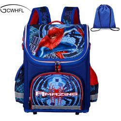 Новые детские школьные ранцы для мальчиков ортопедические водонепроницаемые Рюкзаки для детей с человеком-пауком для мальчиков Книга сумк...