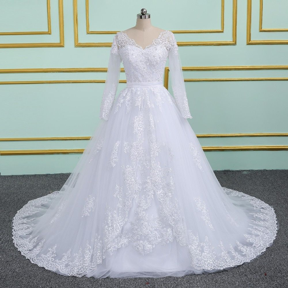 Vinca sunny Long sleeve V Neck Pearls Ball Gown Wedding Dress Vestidos De Noiva Sereia Lace Tulle China Bridal Gowns