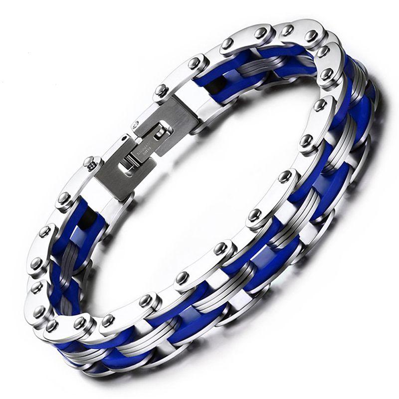 Mode Punk Cool Biker Chain Bracelet Pour Hommes En Acier Inoxydable Moto Bracelet Bracelet Bleu Argent Bijoux Erkek Bileklik