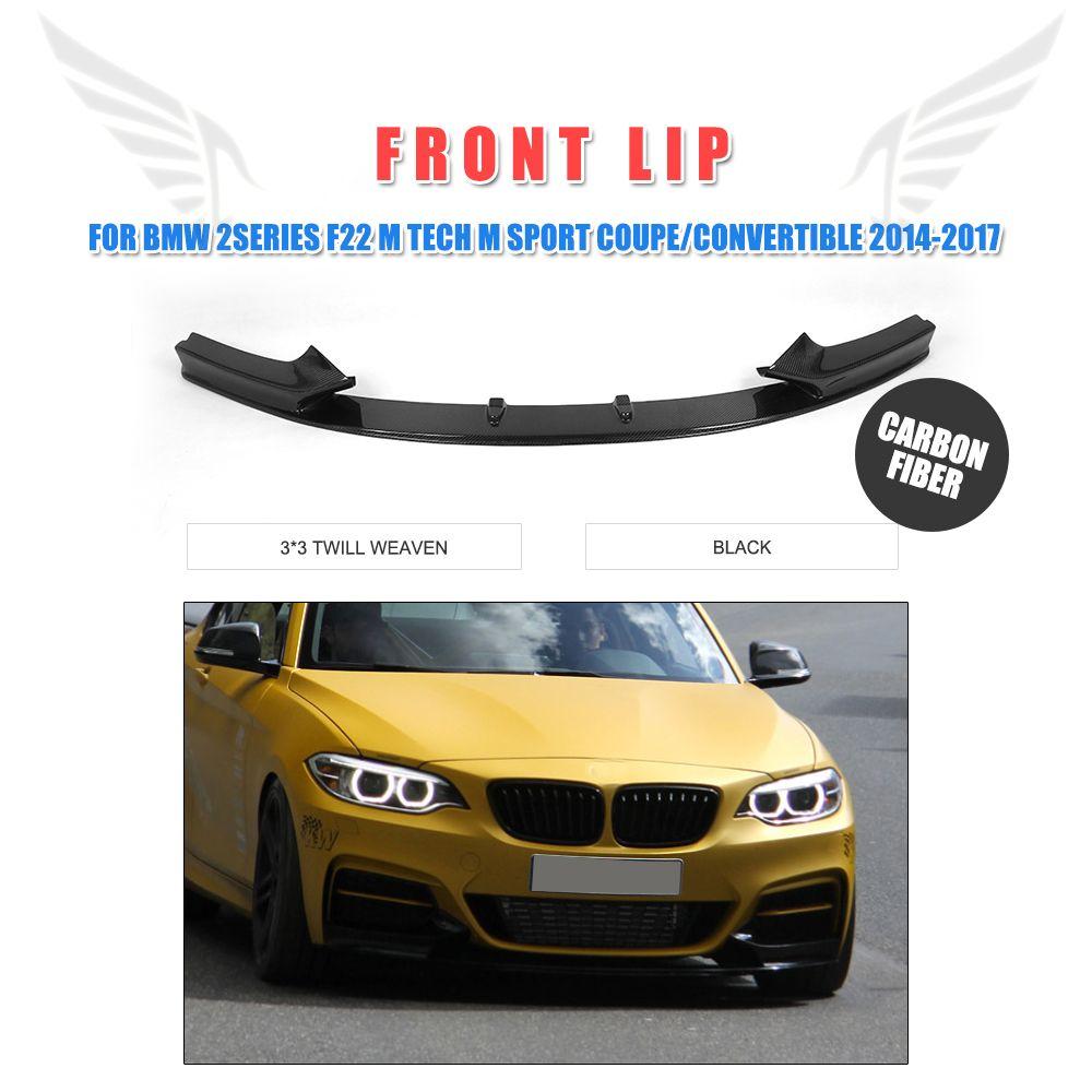 P Stil Auto Carbon Fiber Front Bumper Lip Chin Spoiler für BMW 2 Serie F22 M Tech M Sport Coupe cabrio 2014-2017