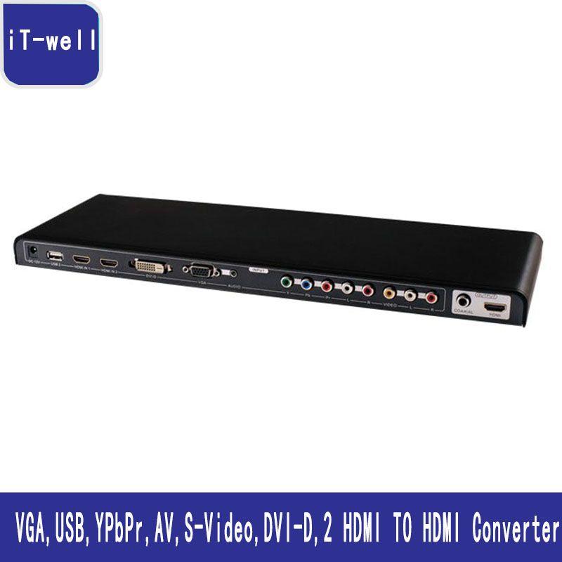 ALL to HDMI Converter Video VGA,USB,YPbPr,AV,S-Video,DVI-D,2 HDMI to HDMI Scaler & Switch Kaycube All-to-HDMI HD Convert