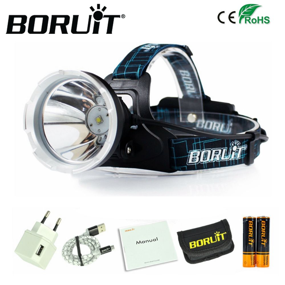 BORUIT B10 XM-L2 LED Headlamp 3800LM 3-Mode Headlight Micro USB Rechargeable Head Torch Hunting Frontal Light Camping Lamp 18650