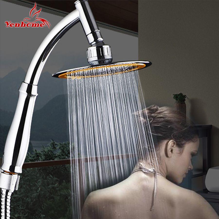Rotation 360 degrés ABS Chrome salle de bains pluie pomme de douche économie d'eau Extension bras main pomme de douche avec tuyau un support