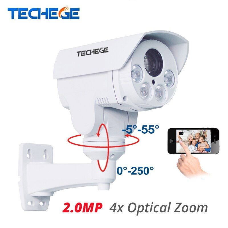 Techege 4x Optical Zoom Auto HD 1080p Bullet IP Camera 2.0MP PTZ Speed Onvif Outdoor Waterproof Night Vision IR 80M Security Cam