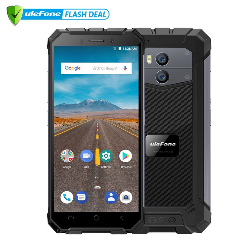 <font><b>Ulefone</b></font> Armor X Waterproof IP68 Smartphone 5.5 HD Quad Core Android 8.1 2GB+16GB 13MP NFC Face ID 5500mAh Wireless Charge Phone