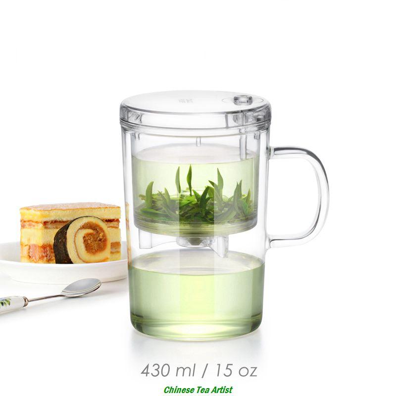 Tasses à thé résistantes à la chaleur soufflées à la main avec couvercle et infuseur 430 ml, ensemble de thé de voyage, filtre commode de fabricant de thé