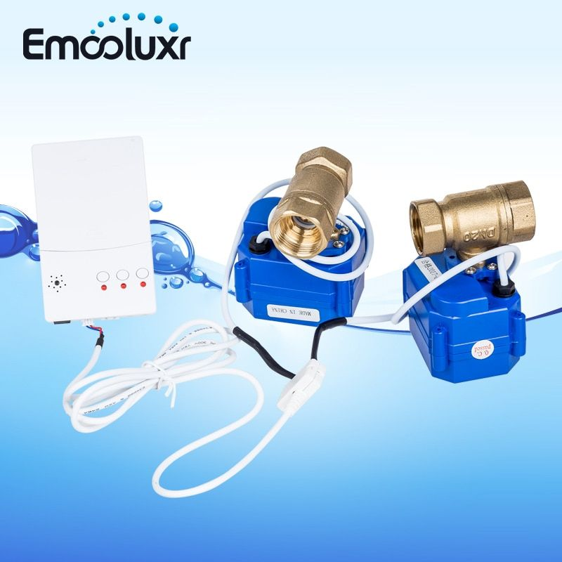 Water Leak System WLD-807 with 2pcs Sensitive Water Sensors&2pc Solid Brass Valve DN15 for Water Pipe for Home Security System