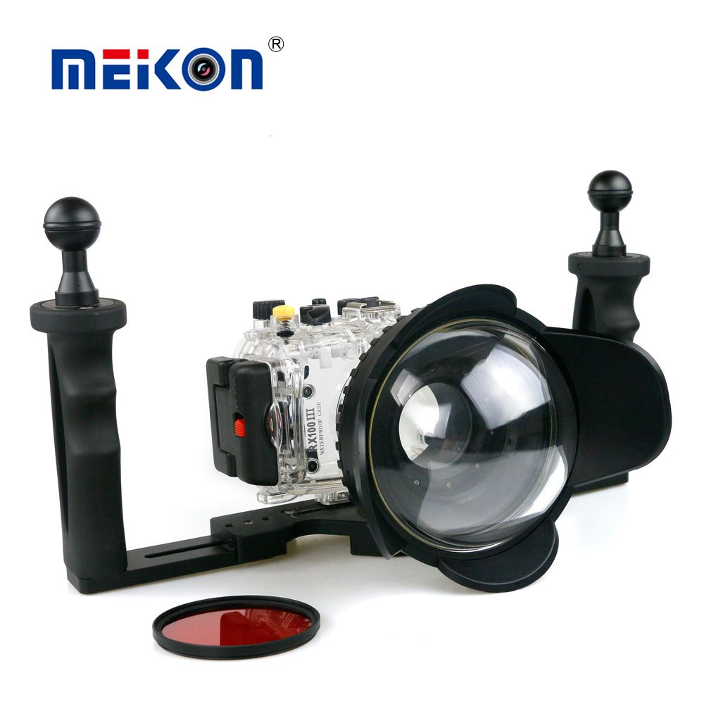 40m/130f Waterproof Underwater Housing Case For Sony RX100 III + 67mm Red Filter + 67mm Fisheye Lens + Two Hands Aluminium Tray