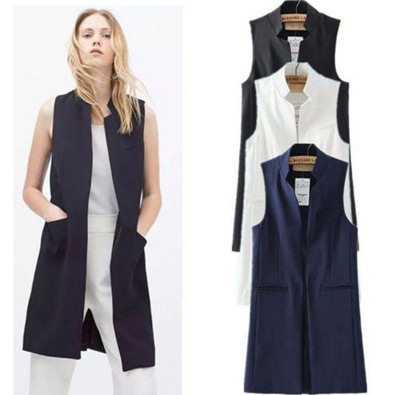 Sommer Neue Mode Lange Taschen drehen-unten Kragen Öffnen Stich Sleeveless Pantone Blau Rosa Beige Schwarz Blazer Weste Jacken JAC255