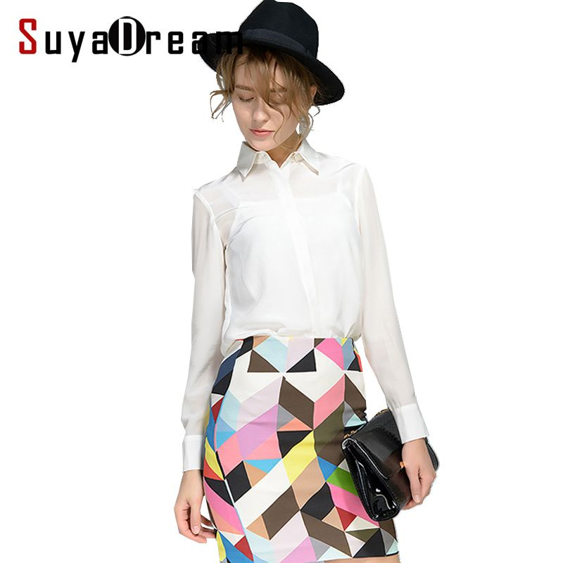 Women Silk Blouse long sleeved 100% REAL SILK CREPE Blouses Solid Basic Button OFFICE Lady SHIRT 2018 WHITE Blusas femininas