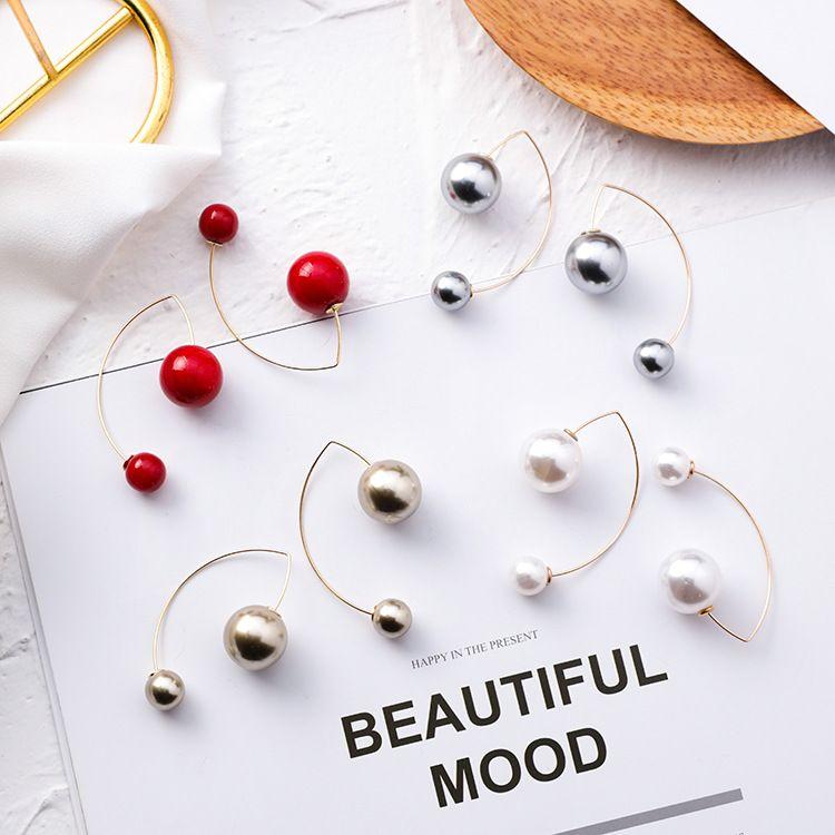 MENGJIQIAO 2019 Neue Einfache Große Kleine Simulierte Perle Perlen Arc Förmigen Ohrringe Für Frauen Mädchen Mode Bijoux Drop Ohrringe Geschenke