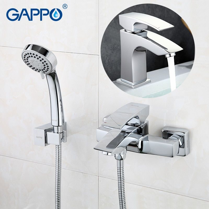 GAPPO sanitary ware bathroom faucets wall mounted bathtub faucet basin faucet chrome tap Bathroom Shower Faucet tap set