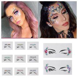 1 unid cristal cara cuerpo joyas fiesta brillo pegatinas tatuaje fantasía pegatinas de sombra de ojos maquillaje cosmético