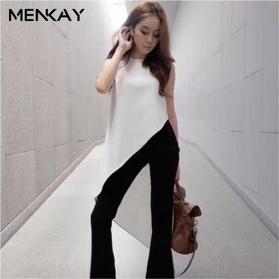 [MENKAY] Irregular Trim Long <font><b>Tail</b></font> Flutter Tops Sleeveless Chiffon Blouse Women Shirt Round Collar Black White 2018 Summer New
