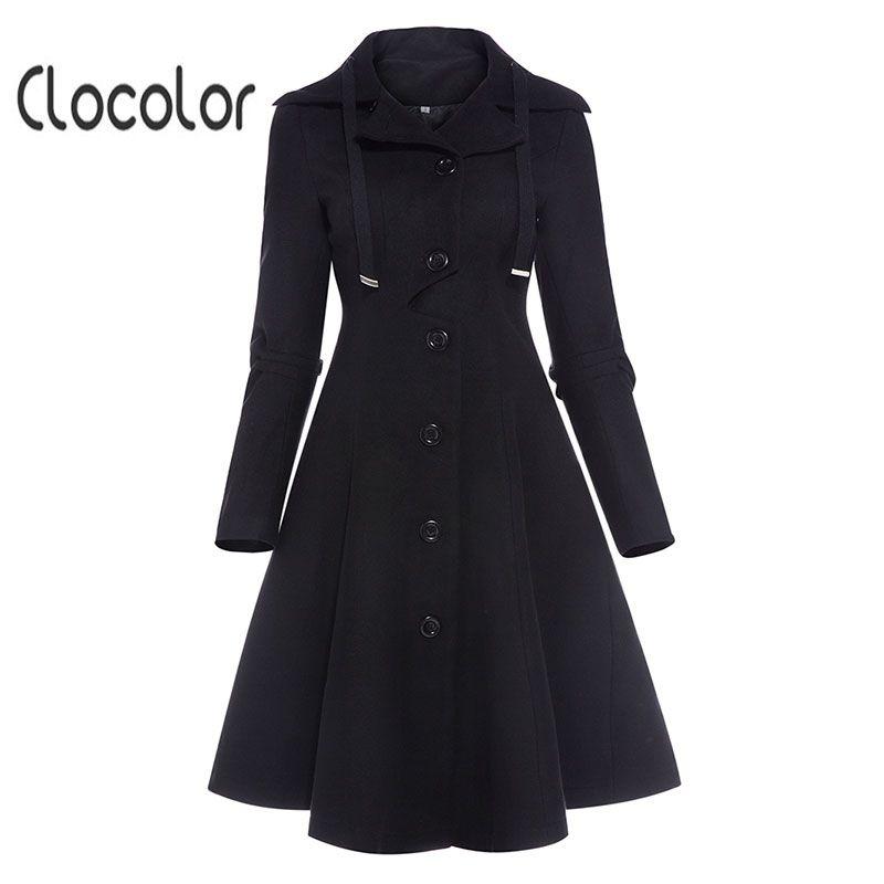 Clocolor Asymmetric Black Coat Stand Collar Long Sleeve Women Overcoat Elegant Single-Breasted Slim Fall Winter women coat