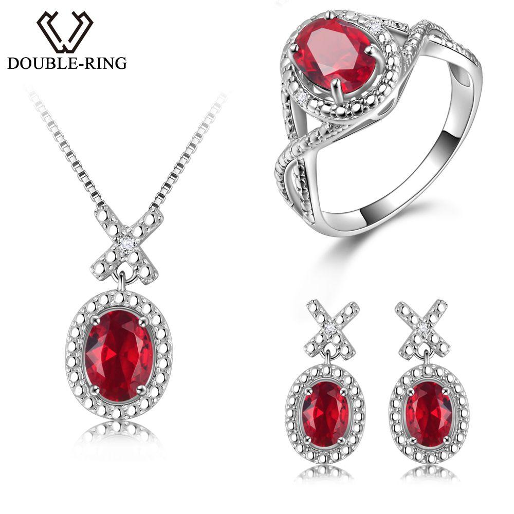 DOUBLE-R Silver 925 Earrings Ring Created Oval Ruby Gemstone Pendant Necklace Zircon Women Wedding Jewelry Sets
