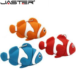 Jaster Lucu Kartun Hewan Ikan USB Flash Drive Memory Stick Pen Drive Flashdisk 4 GB 8 Gb 16 GB 32 GB 64 GB U Disk