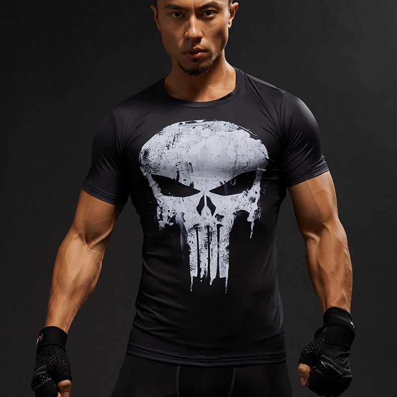 Kurzarm 3D T-shirt Männer T-Shirt Männlichen Crossfit T Captain America Superman t-shirt Männer Fitness Compression Hemd Punisher MMA