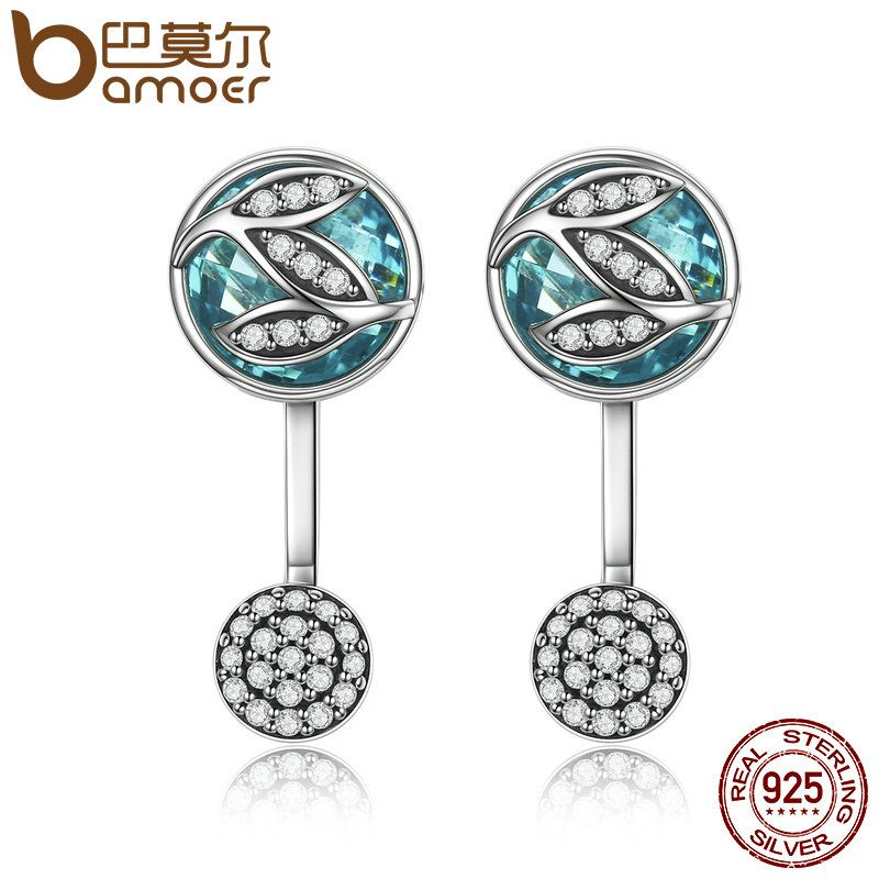 BAMOER 100% 925 Sterling Silver Green Glass ,Dazzling CZ Tree of Life Drop Earrings for Women Brincos Fine Jewelry Bijoux SCE087