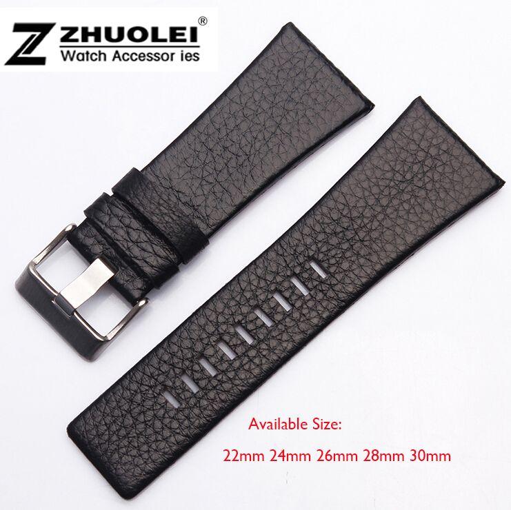 Bracelet de montre homme 22mm 24mm 26mm 28mm 30mm bracelet en cuir noir boucle en acier inoxydable DZ bracelet de montre