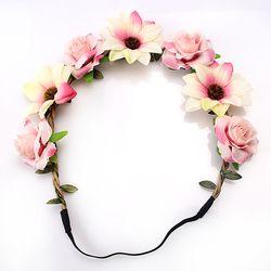 M L'MISME Vente Mode Femmes Mariée Fleurs Bandeau Bohème Style Rose Fleur Couronne Hairband Dames Élastique Plage Cheveux Accessoires
