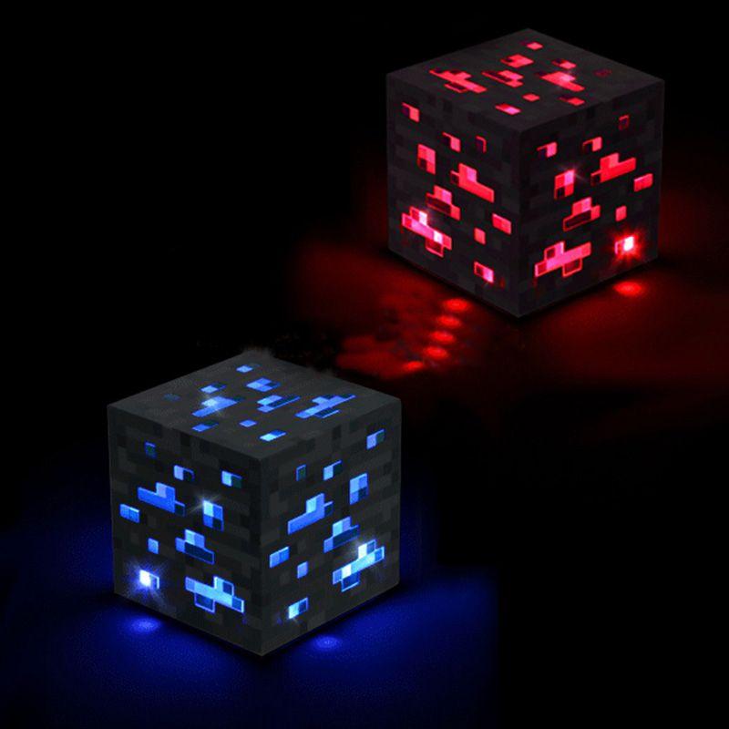 Minecraft illumine le minerai de pierre rouge pierre bleue diamant carré veilleuse tactile lampe à LED minecraft jouets pour enfants cadeau