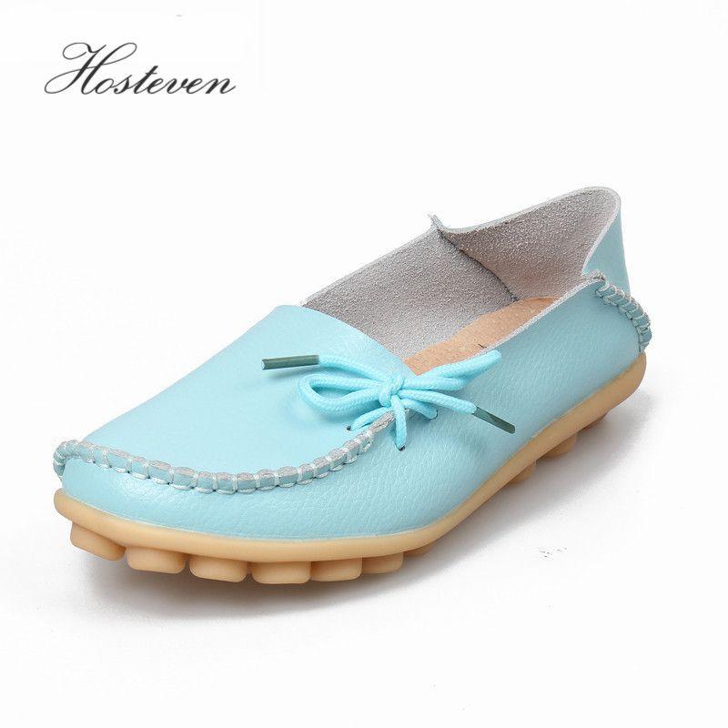 Hosteven femmes chaussures en cuir véritable mocassins mère mocassins doux loisirs appartements décontracté femme conduite Ballet chaussures