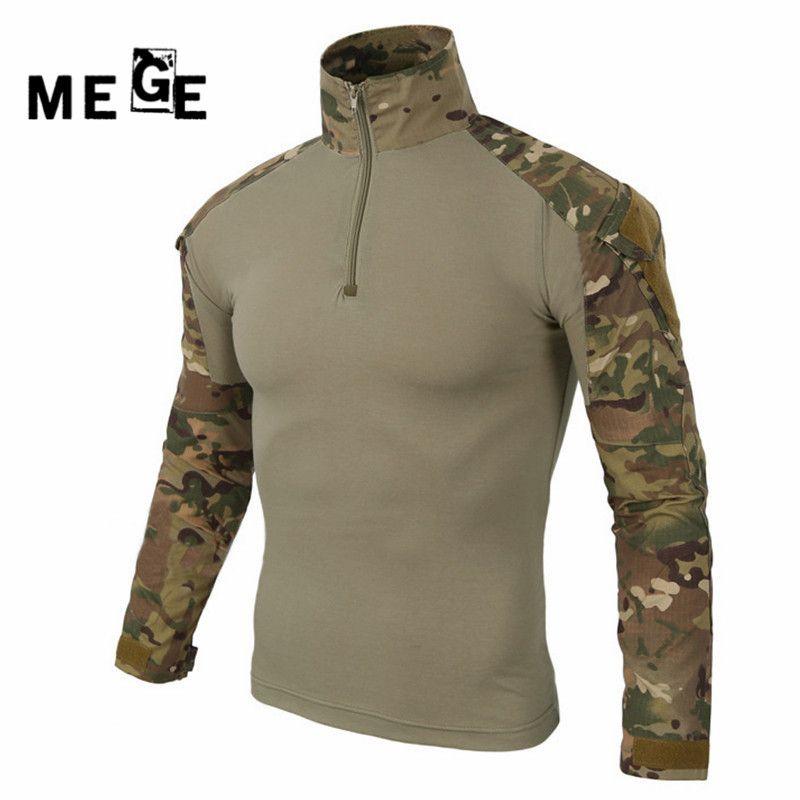 MEGE militaire multicam armée chemise de combat uniforme chemise tactique avec coudières camouflage chasse vêtements ghillie costume haut