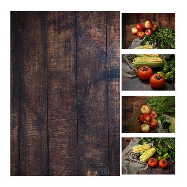 INS Style 56*90 cm Double côtés bois marbre ciment mur comme Vintage photographie fond toile de fond papier conseil Prop pour la nourriture