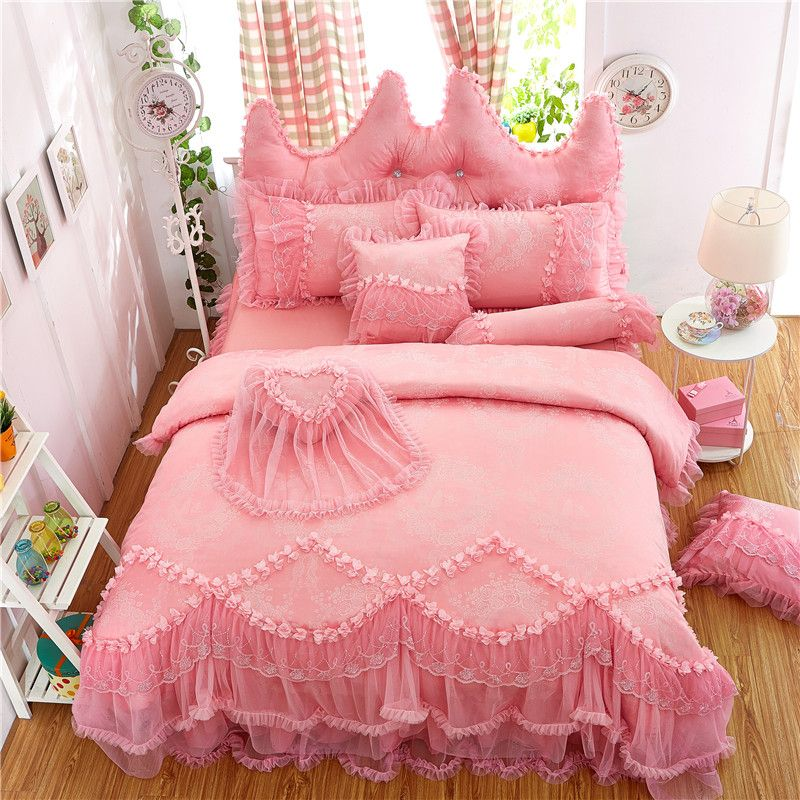 Purple pink red princess style korean Bedding set Full Queen King size Bed set Cotton jacquard Duvet cover Bed skirt Pillowcaes