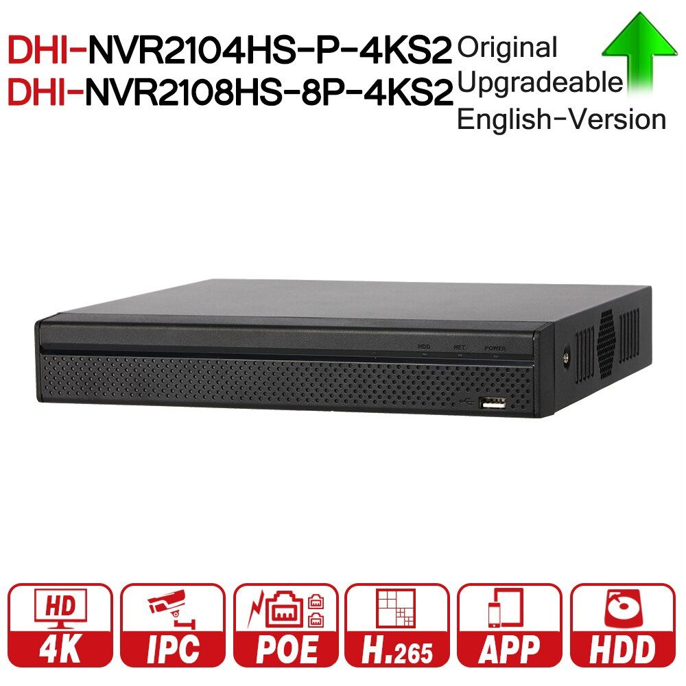 DH NVR2104HS-P-4KS2 NVR2108HS-8P-4KS2 4CH 8CH POE NVR 4K Recorder Support HDD 4/8CH POE For CCTV System Security Kit