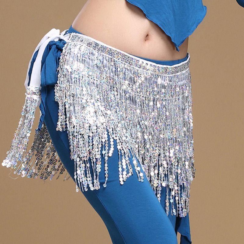 2018 femmes danse du ventre vêtements accessoires gland ceintures dames danse du ventre hanche écharpe paillettes ceinture 12 couleurs