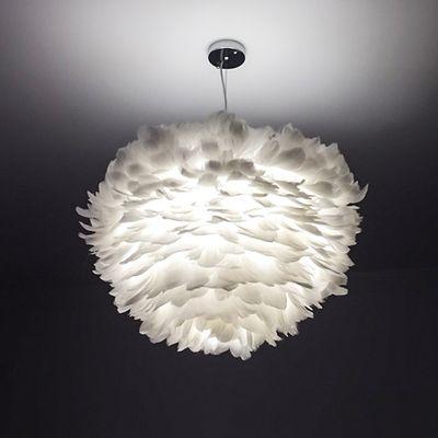 Lovely feather shade light fixture luminaire 110V/220V E27 bulb pendant lamp suspension loft style lamps for living room/bedroom
