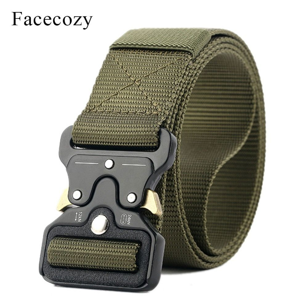 Facecozy Men Nylon Waistband Fast-Opening <font><b>Automatic</b></font> Tactical Belt Male Outdoors Hiking Military Canvas Belts Waist Support
