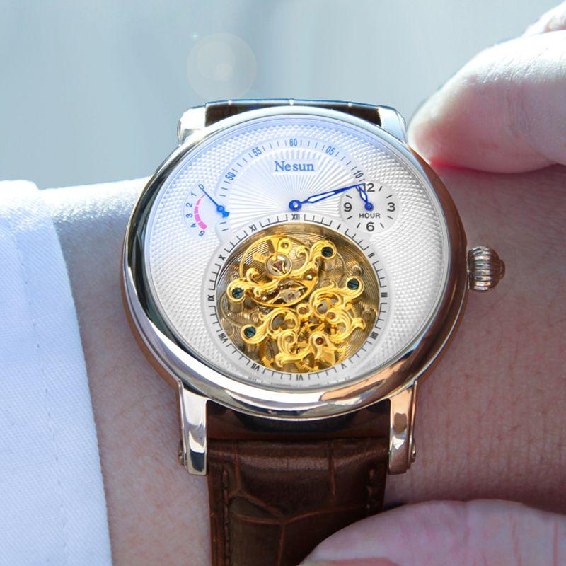NESUN Luxury Business Men's Hollow Tourbillon Watch Automatic Mechanical Wristwatches Men Sapphire Waterproof Relogio Masculino