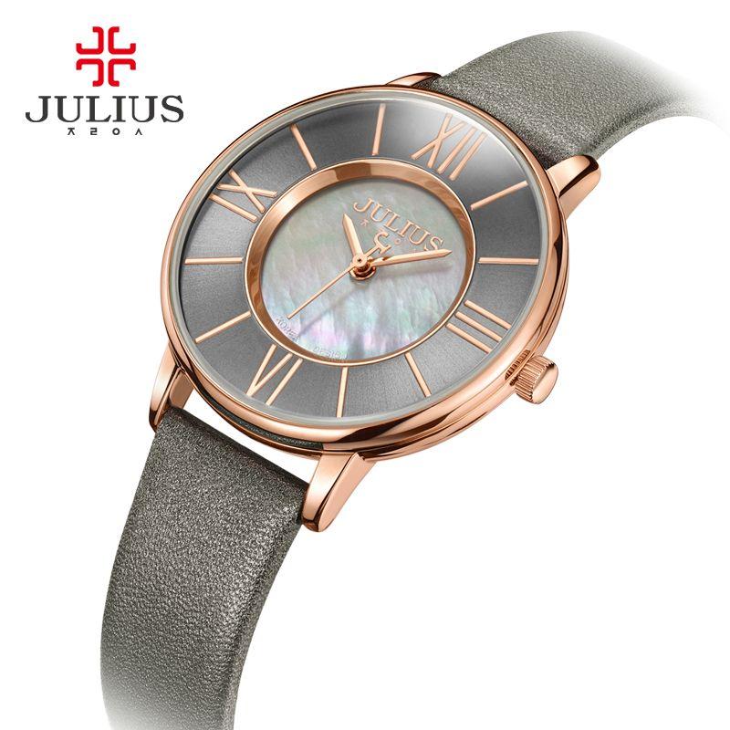 2018/Mode Julius Montre Femmes Mince En Cuir Montre-Bracelet Shell cadran Horloge Gris RoseGold 30 m Étanche Quartz Montres Cadeau